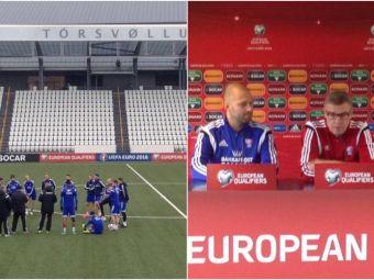 "FOTO & VIDEO   ""Maghiarii se roaga de noi sa castigam"". Selectionerul Insulelor Feroe a vorbit la conferinta de presa, jucatorii au facut antrenamentul oficial la 8 grade"