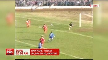 Imagini unice de la ultima intalnire Baia Mare - Steaua. In urma cu 20 de ani, Steaua avea acelasi antrenor, iar oamenii se urcau pe garduri sa vada fotbal