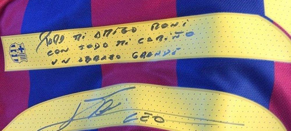 Doua numere 10 uriase ale Barcelonei intr-o singura imagine. Mesajul pe care Messi i l-a scris lui Ronaldinho intr-un gest istoric