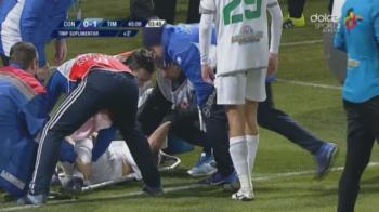 Momente de groaza pe teren la Chiajna - Timisoara! Un jucator a fost dus de urgenta la spital dupa ce a suferit o comotie in timpul meciului