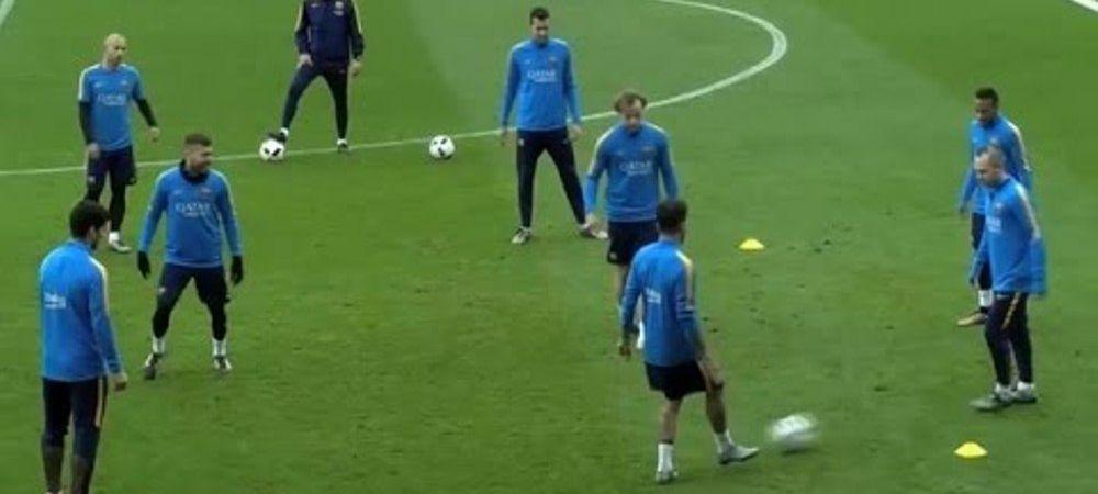 Moment genial la antrenamentul Barcelonei! TIKI TAKA cu tribunele pline. Toata lumea i-a aplaudat in picioare. VIDEO