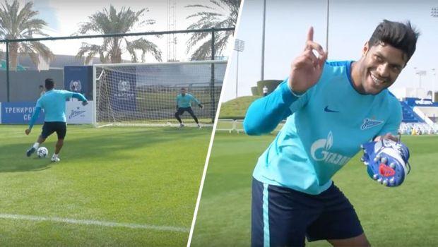 """Hulk loveste din nou. Brazilianul lui Zenit continua seria viralelor cu episodul: """"Cum se bate penalty-ul perfect"""" :)"""