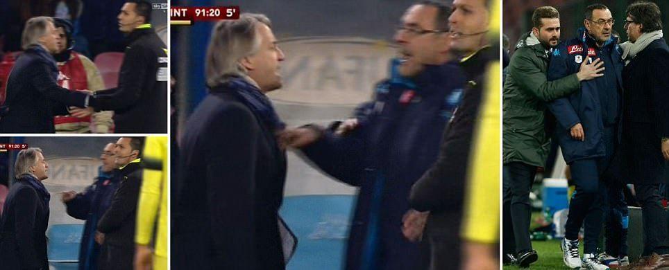 """""""Ar trebui sa fie DAT AFARA din fotbal!"""" Razboi pe teren la Napoli - Inter! Mancini a fost injurat de antrenorul lui Napoli in meciul care l-a eliminat pe Chiriches din Cupa Italiei"""