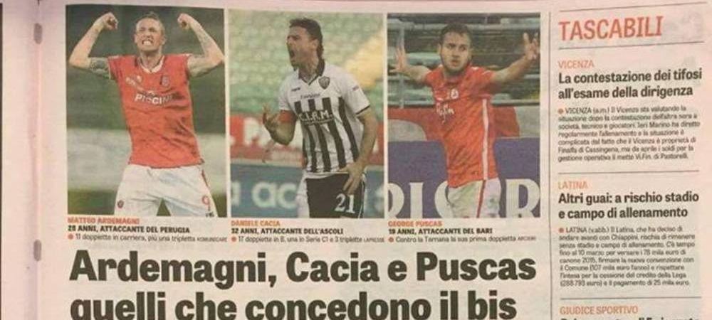George Puscas a ajuns vedeta in Gazzetta dello Sport dupa primele goluri din cariera marcate in Italia