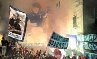 Imaginile nebuniei: cum au celebrat ultrasii lui Napoli, cu torte, cantece si steaguri, restaurarea unui desen cu Maradona pe un bloc din oras VIDEO