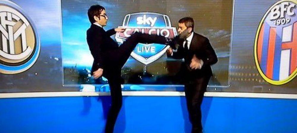 Faza bizara cu un fost supercampion al Italiei in prim-plan. Costacurta, lovit cu piciorul in fata, IN DIRECT! Ce s-a intamplat