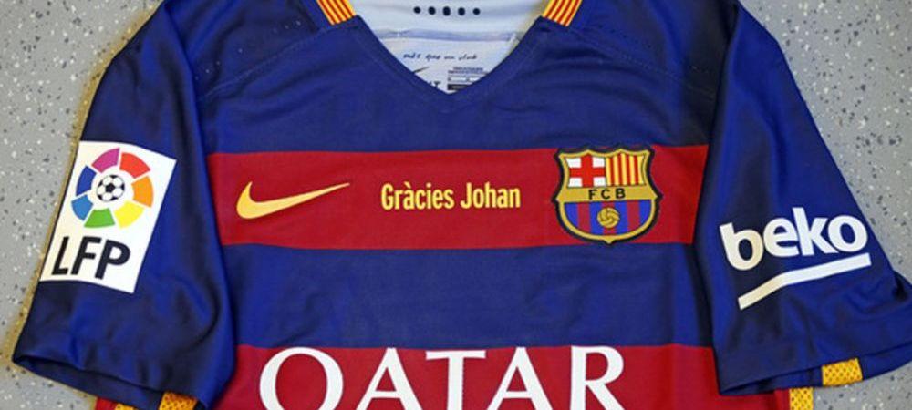 FOTO Mesaj special pentru Cruyff pe tricoul Barcei la meciul cu Real! Coregrafie impresionanta anuntata de fani