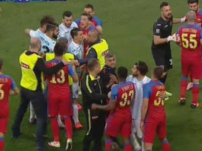 Tensiune LEVEL 10 la Steaua - ASA: jucatorii au fost la un pas de o bataie generala in minutul 53! De la ce a plecat totul