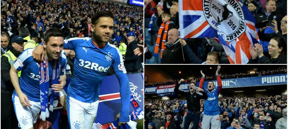 Cosmarul a luat sfarsit: cea mai titrata echipa a Scotiei a revenit in prima liga dupa 4 ani de chin in ligile inferioare. Sarbatoare la Glasgow