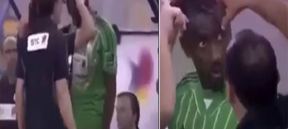 Imagini incredibile in Arabia Saudita! Un meci a fost oprit pentru ca un jucator avea o freza ANTI ISLAMICA! A fost tuns pe teren. VIDEO