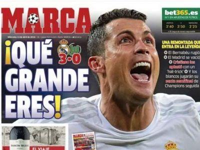 """Ronaldo, ridicat la rang de Zeu dupa magia de aseara! Spaniolii sunt gata de un nou razboi: """"Vine mama tuturor bataliilor!"""" Primele pagini ale ziarelor spaniole"""