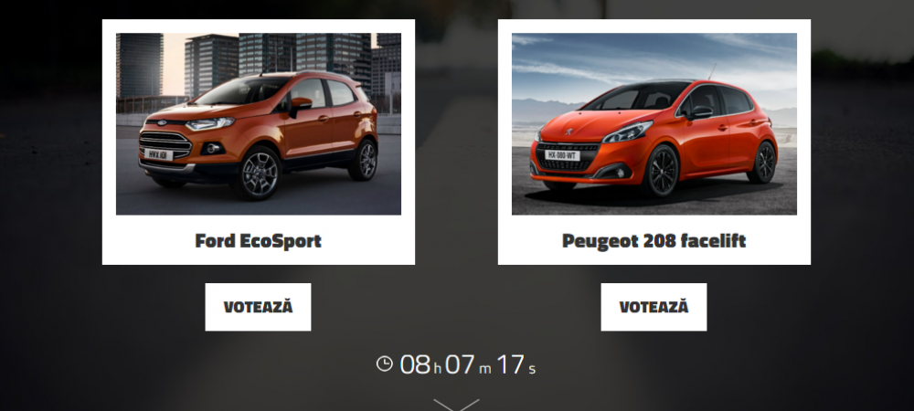 Ford EcoSport vs Peugeot 208 facelift. Pe care o alegi? VOTEAZA aici si poti castiga o multime de premii