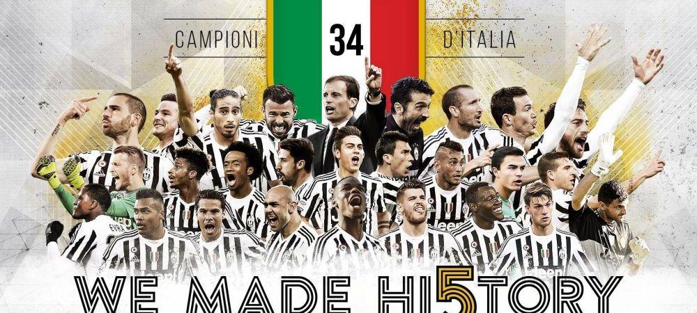 Juventus scrie istorie in Italia: torinezii, campioni pentru a cincea oara la rand in Serie A, dupa ce Napoli a pierdut la Roma