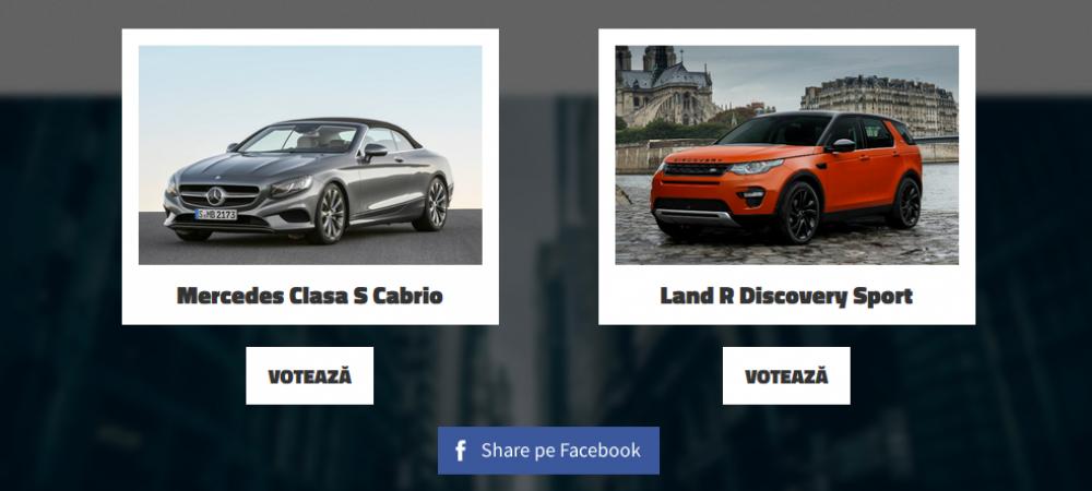 Mercedes Clasa S Cabrio vs Land Rover Discovery Sport! Pe care o votezi? Intra acum pe autovot.sport.ro!