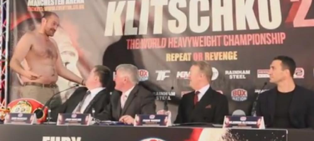 """VIDEO: """"Klitschko, ia uite-te la mine, te-a batut un gras! Sa-ti fie rusine!"""" Faza monumentala: cum a reactionat Klitschko dupa ce a fost ironizat de Tyson Fury"""