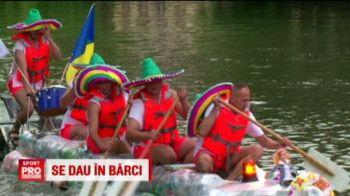 """Cea mai trasnita cursa din Romania a avut loc la Timisoara. Fred si Barney s-au dat cu barca pe Bega, la concurenta cu """"Pluta Dilie"""" :)"""
