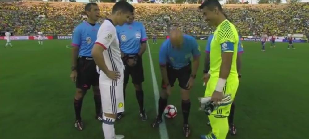 Asa ceva nu s-a mai intamplat pana acum! Cum a cazut moneda la meciul dintre Paraguay si Columbia de la Copa America! VIDEO
