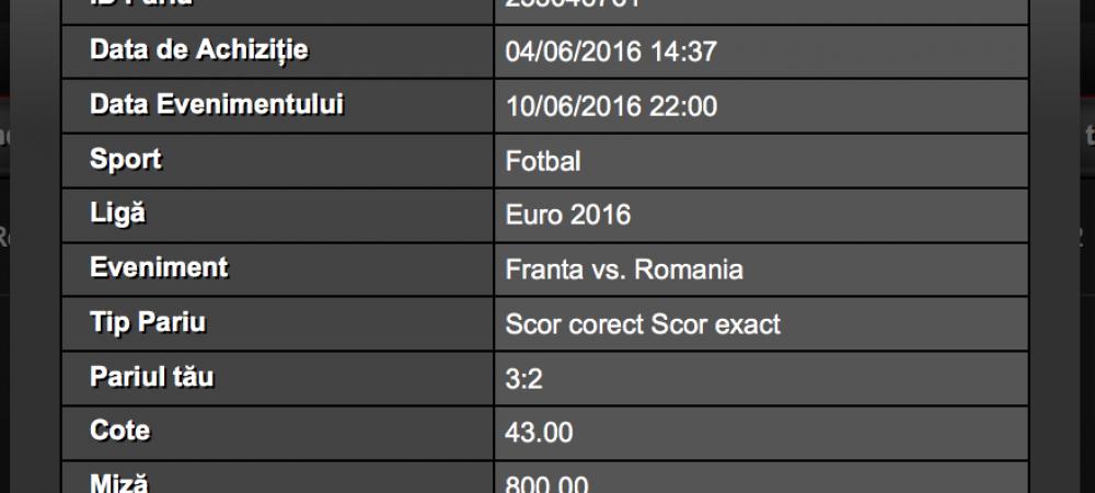 Franta vs Romania - EURO. Pariuri cu mize si castiguri incredibile! (P)