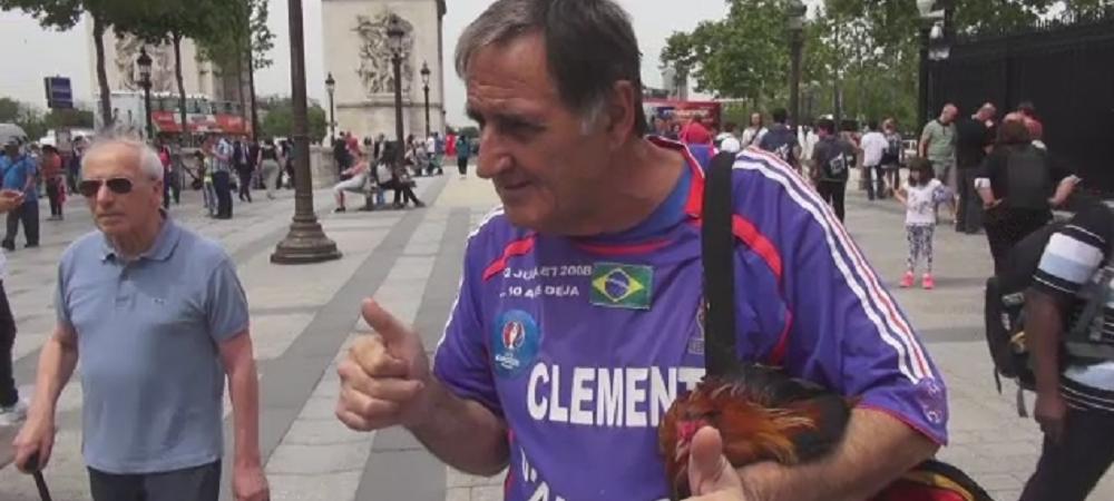 """Romanii il cauta prin Paris pe """"mosul cu cocosul""""! Omul venit de pe alta planeta, care a vazut Romania - Franta inainte sa se joace! AZI, la Stirile din Sport de la ProTV, ora 20:00"""