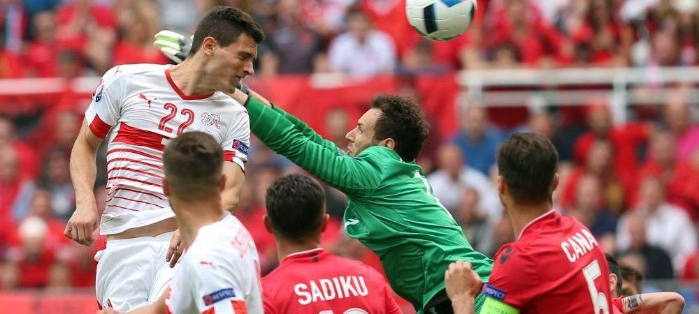 Elvetia castiga in fata Albaniei si o asteapta pe Romania! Albanezii au jucat in 10 din prima repriza! AICI AI VIDEO: golul lui Schar. ELVETIA 1-0 ALBANIA