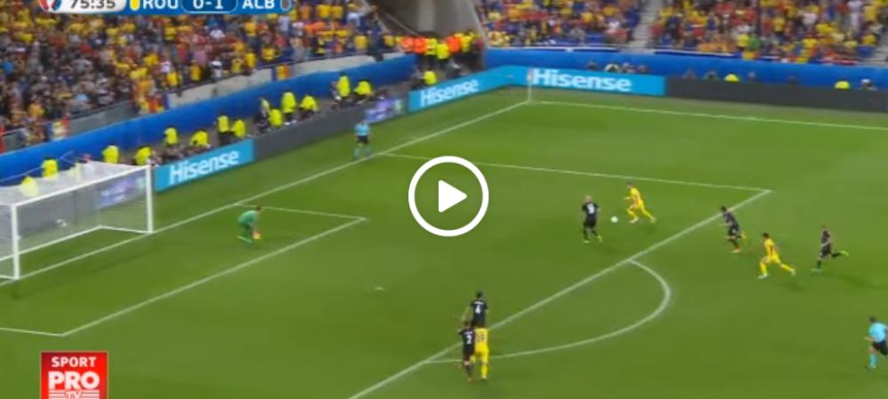 Cea mai mare ocazie a Romaniei: Florin Andone a sutat cu toata forta, dar mingea a izbit bara portii lui Berisha | VIDEO