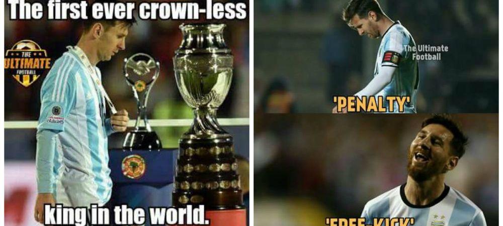 Primul REGE fara coroana! Internetul e plin de ironii dupa retragerea lui Messi de la nationala. FOTO