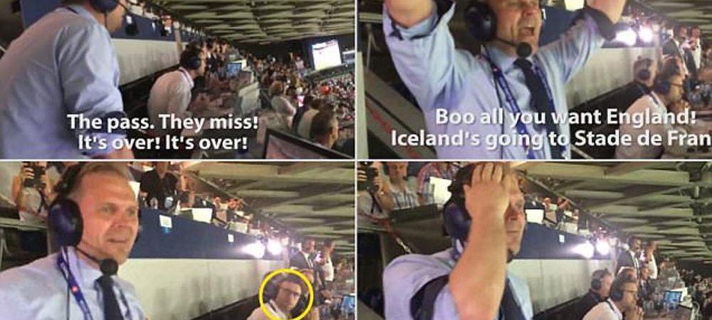 VIDEO FABULOSSON :)) A aparut filmarea cu comentatorul islandez la finalul meciului cu Anglia! Ce fata a facut COMENTATORUL ENGLEZ catre el cand l-a auzit