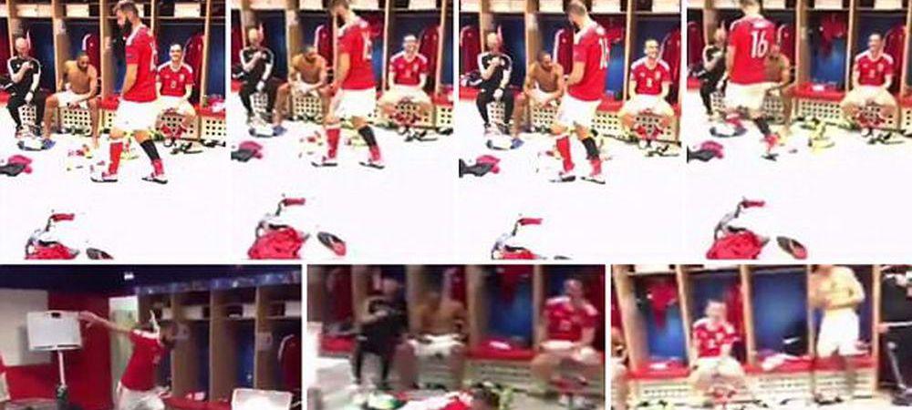 FIESTA in vestiarul galezilor! Dansul cu care s-au bucurat dupa calificarea in semifinale la EURO. VIDEO