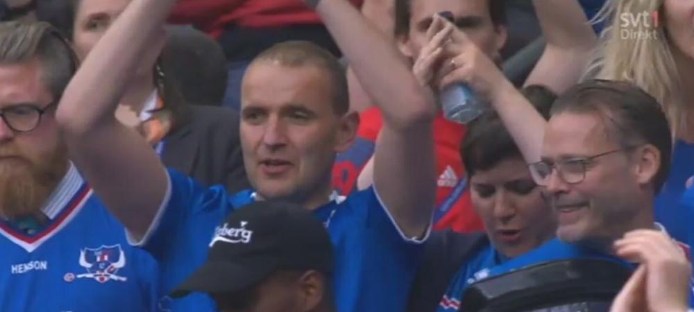 Imagini senzationale! Presedintele Islandei a stat in TRIBUNA cu suporterii la meciul cu Franta