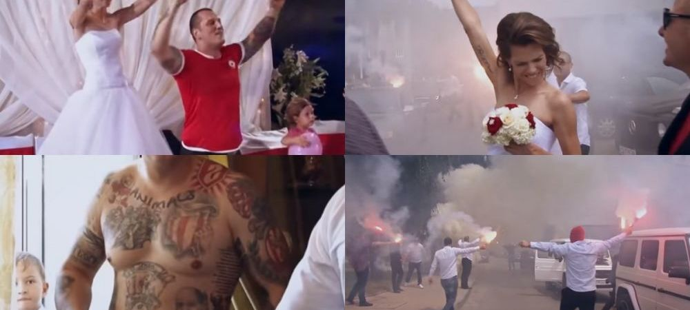 Nunta ca-n peluza! Fanii lui CSKA au oferit scene socante! Mirele a venit in tricoul echipei, mireasa a tras cu pistolul - VIDEO