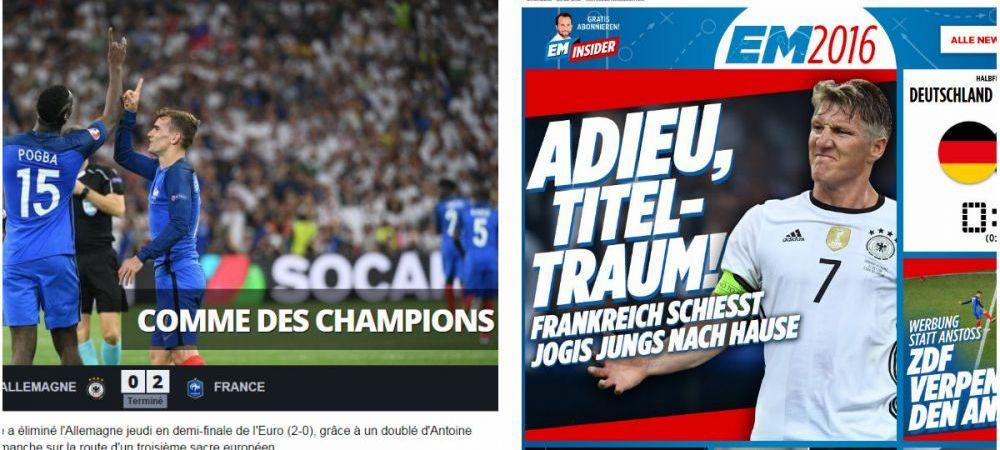 """Franta se intoarce pe stadionul pe care a deschis EURO impotriva Romaniei: Franta - Portugalia, duminica, 22:00, la ProTV   L'Equipe: """"Ca niste campioni"""", BILD: """"Adio, vis de titlu"""""""