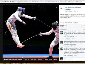 Gafa facuta de Federatia Internationala de Scrima pe Facebook. Reactiile imediate ale romanilor