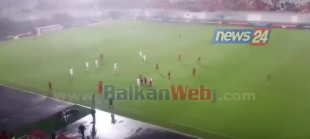 Ambele echipe au FUGIT de pe teren! Albania - Macedonia, oprit de arbitru in minutul 76! Ce s-a intamplat