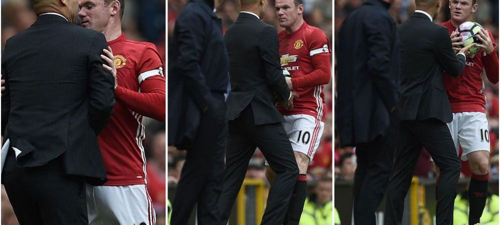 Scene nebune in derby-ul din Manchester! Pep Guardiola, la un pas de bataie cu Rooney! VIDEO