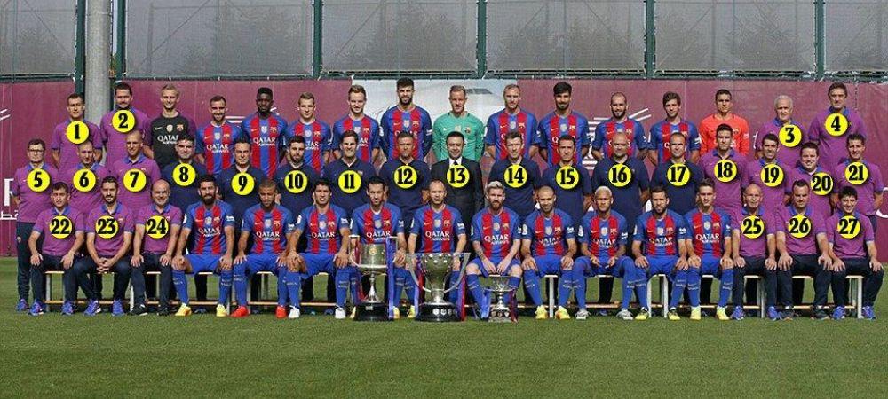 """Foto senzational! Prima fotografie de grup a Barcelonei in care toti super jucatorii lui Luis Enrique sunt mai putini decat """"ceilalti"""" :)"""