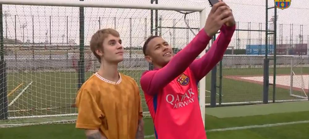 Vizita surpriza in cantonamentul Barcelonei! Justin Bieber a facut show alaturi de Neymar! VIDEO