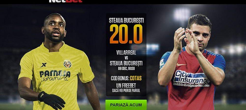 Bomba la pariuri: Cota 20 pentru Steaua sa invinga Villareal! Cota 10 Real si Barcelona!