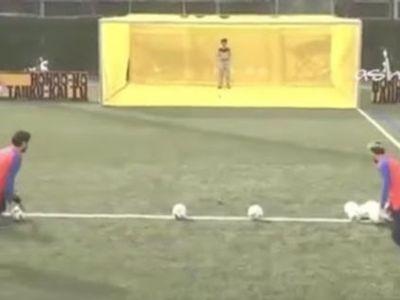 VIDEO SENZATIONAL! Cea mai tare provocare pentru Messi si Suarez: au trebuit sa loveasca DRONA in fata portii