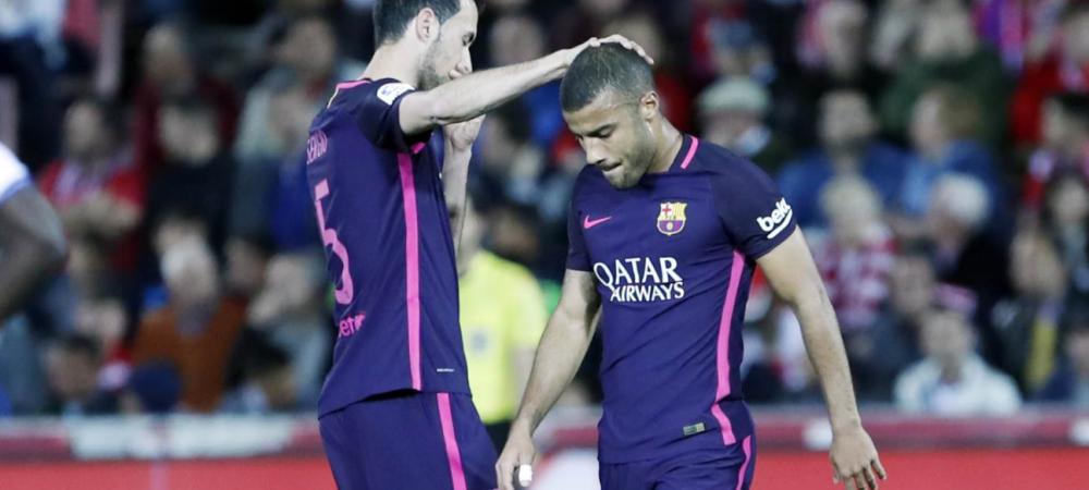 """Probleme pentru Barcelona, cu o saptamana inaintea meciului cu Juve:Rafinha s-a """"rupt"""" cu Granada"""