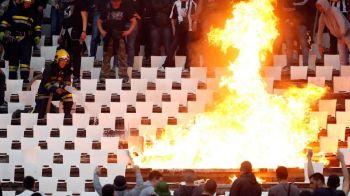 Scene SOC in Serbia! Fanii lui Partizan au incendiat peluza Stelei Rosii, ca dinamovistii in '97! FOTO
