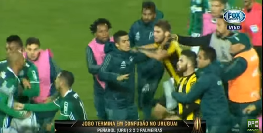 IMAGINI INCREDIBILE! Bataie GENERALA dupa meciul lui Palmeiras. Pumni si picioare intre jucatori. VIDEO