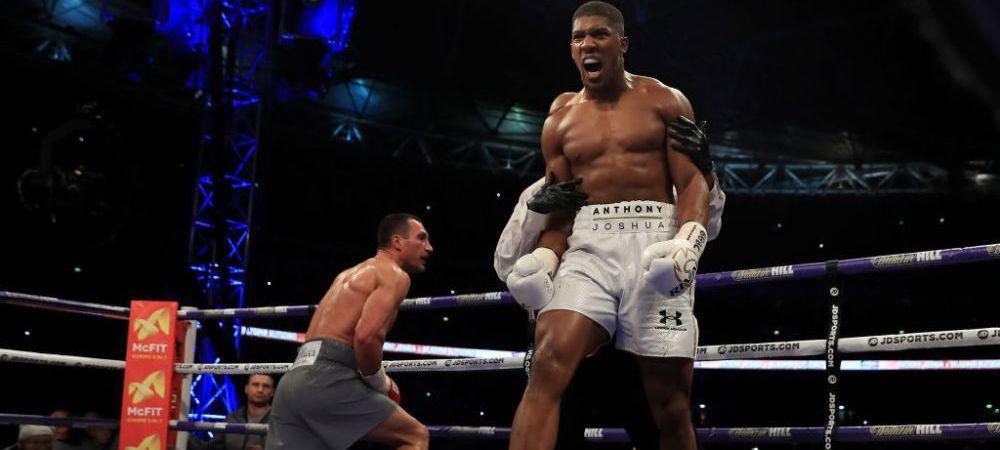 """Provocarea lui Joshua dupa ce l-a facut KO pe Klitschko! A luat microfonul si a propus un meci colosal: """"Unde esti? Hai se ne luptam!"""" Replica a venit imediat"""