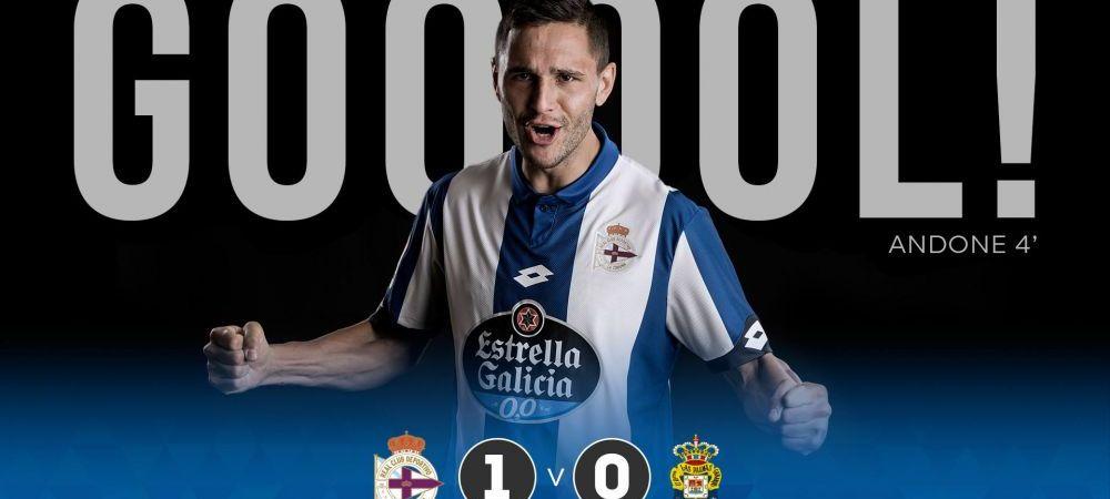 GOOOOL! Andone da o dubla si e aproape de TOP 10 marcatori din Spania!Deportivo 3-0 Las Palmas