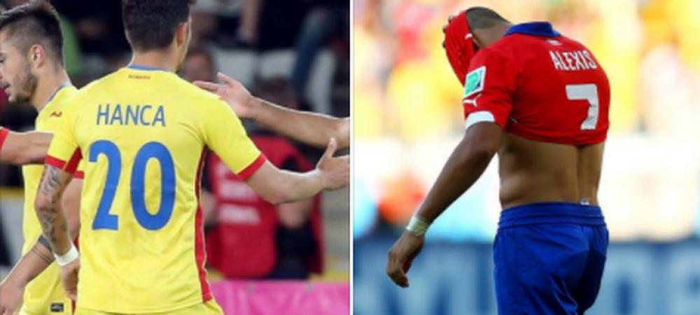 """Moment genial dupa Romania - Chile. Alexis Sanchez a venit si i-a dat tricoul lui Hanca: """"Hai sa facem schimb!""""Ce raspuns a primit :))"""