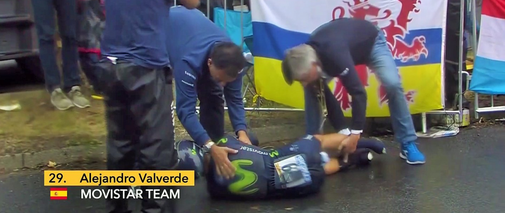 Debut teribil de Le Tour: Valverde si-a rupt piciorul, Geraint Thomas a scos cel mai bun timp pe o ploaie grea la Dusseldorf