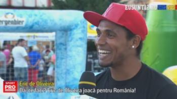 """Eric s-a alaturat caravaneti Eu Sunt 12 si a facut spectacol cu mingea. Mesajul brazilianului pentru Daum: """"Eric joaca pentru Romania"""""""