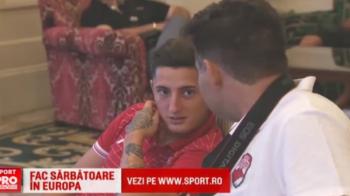 Vizita primita de dinamovisti in cantonament chiar inaintea meciului cu Bilbao. Emotionant: un fan in scaun cu rotile a batut 600 kilometri pentru a-i intalni
