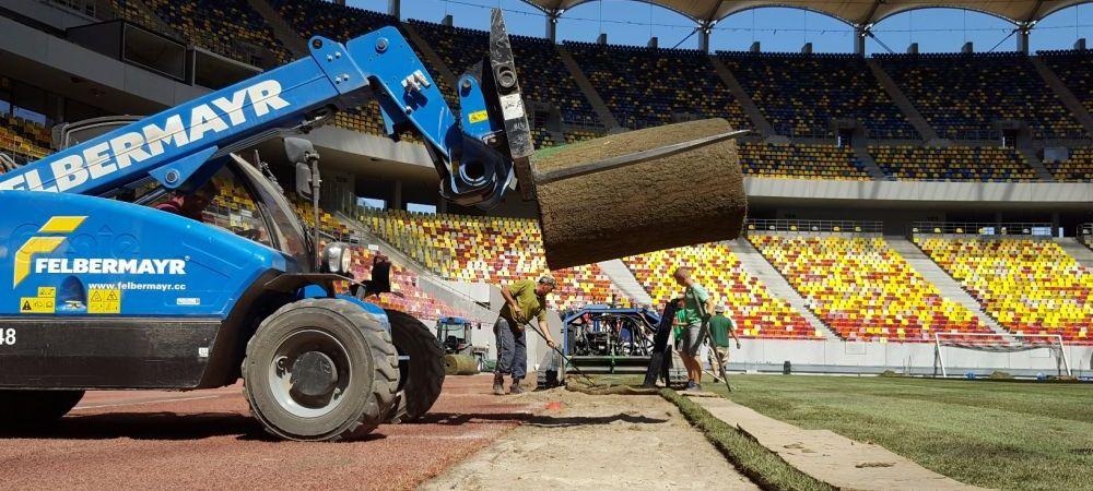 """Gazonul, motiv de panica pe National Arena: suprafata de joc NU arata ok, muncitorii """"repara"""" cu nisip"""