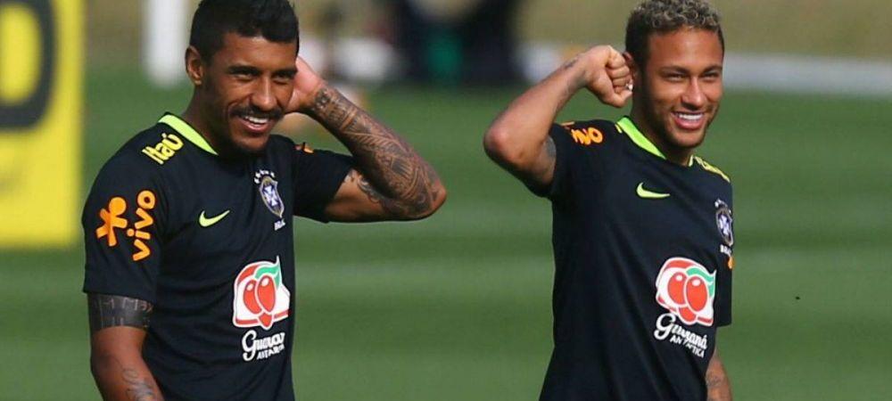 Razbunarea Barcei? :) Paulinho l-a accidentat pe Neymar la antrenamentul Braziliei!