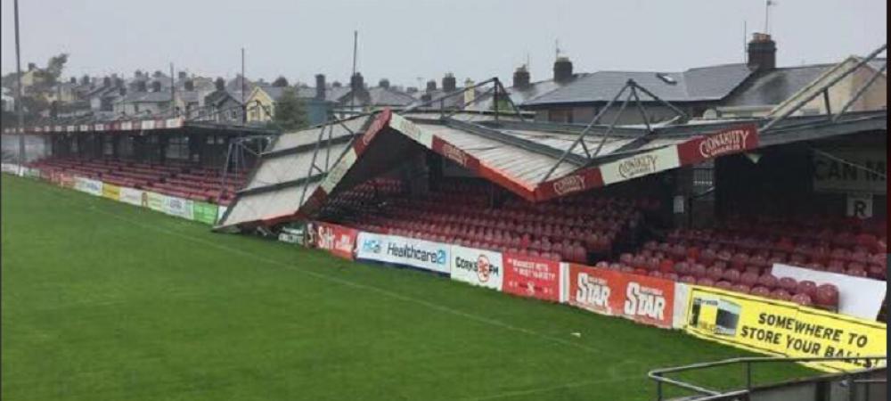 Imagini CUTREMURATOARE! Uraganul era sa ia stadionul cu TOTUL! Ce s-a intamplat inaintea derby-ului